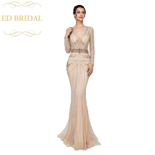 846633954c Sexy See Through Nude Color Mermaid Evening Dresses Formal Long Formal Gown  Prom Dress