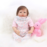22inch Reborn Silicone Vinyl Reborn Baby Doll Gift adorable bebe reborn silicone realistic menina play house toys for kids