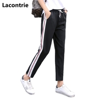 Lacontrie 2017 Spring Summer Women Casual Pants Trousers Fashion Side Striped Nine Point Pants Elastic Waist