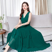 2019 Summer Women's Long Dress Slim Casual Chiffon Korean Style Sleeveless Ruffles Dress V neck Boho Beach Holiday Long Vestidos