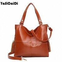 YASICAIDI Soft Leather Women Shoulde Bag Black Sheepskin Leather Women Handbag Double Zipper Tassel Crossbody Bag