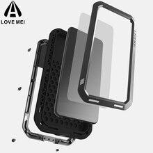 Love Mei Giáp Ốp Lưng Kim Loại Dành Cho Huawei P20/P20 PRO/P20 Lite Bao Nhôm Mạnh Mẽ Viền Chống Sốc với kính cường lực