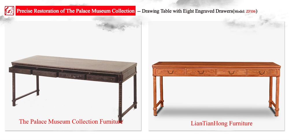 Drawing Table With Eight Engraved Calligraphy Painting Drawers Chinese Clical Rectangle Long Office Book Desks Burma Rosewood In Console Tables From