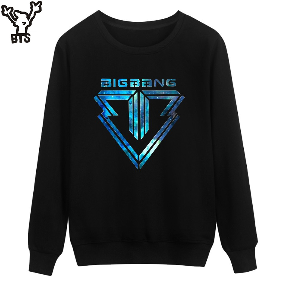 BTS Korean Kpop Bigbang Capless Sweatshirt Women Cotton Fashion Black Women Hoodies Sweatshirts Hip Hop Singer