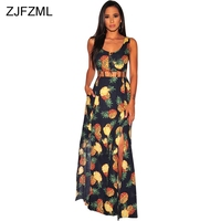 ZJFZML Pineapple Print Summer Beach Dress Women Waist Band Cut Out Sleeveless Maxi Dress Sexy Vintage High Side Split Long Dress