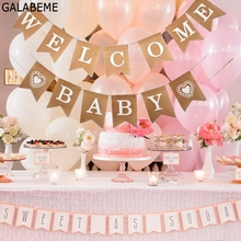 Galabeme 1set WELCOME BABY Banner flags party garland boy baby