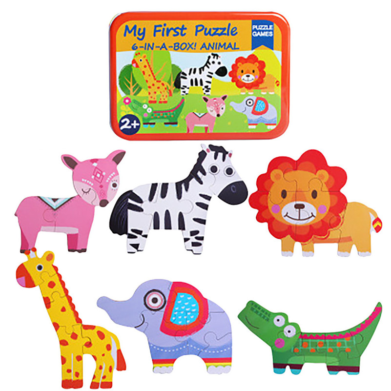 6 In 1 Animal Cartoon Wooden Traffic Puzzle Early Childhood Educational Toys E1