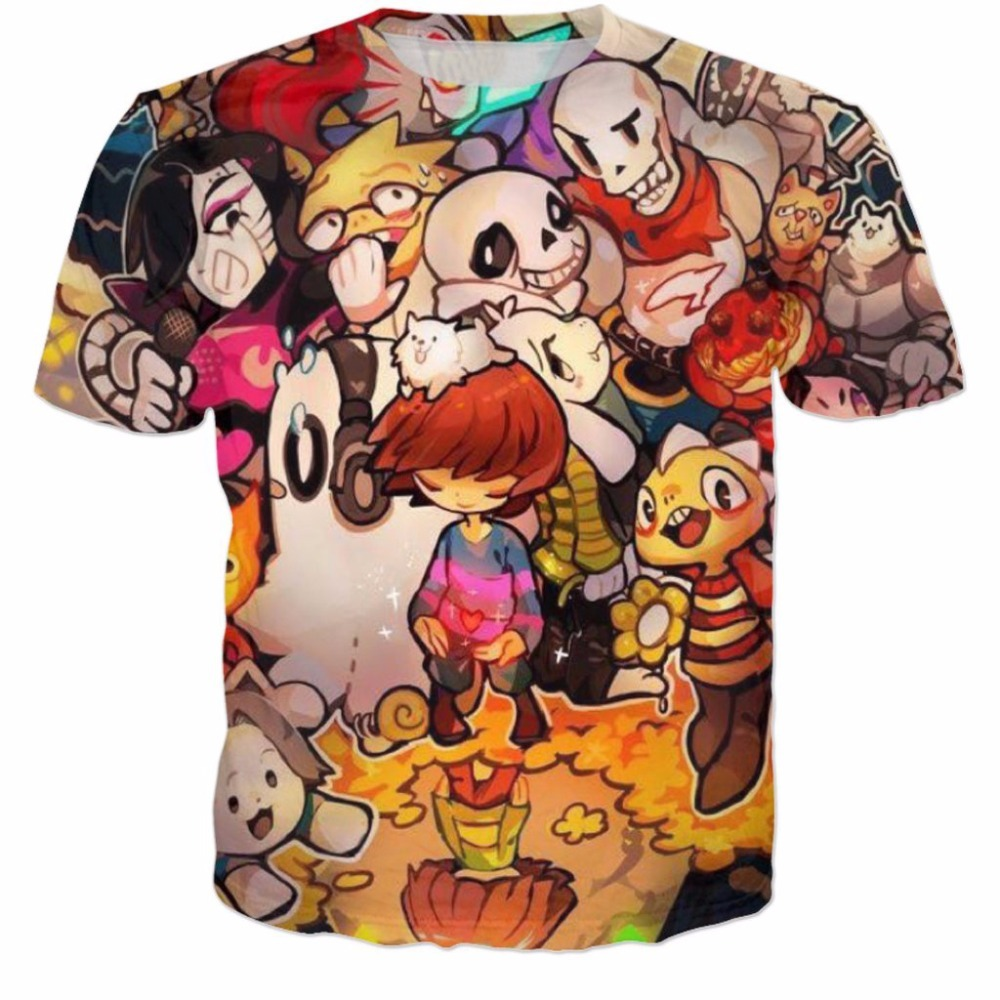 T Shirts Cartoon Characters : Undertale t shirt d cartoon character summer