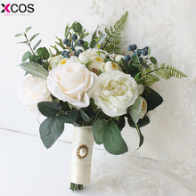 New 2018 Bridal Bouquet High Quality Ivory Rose Throw Wedding Flowers Bridesmaid Bouquet
