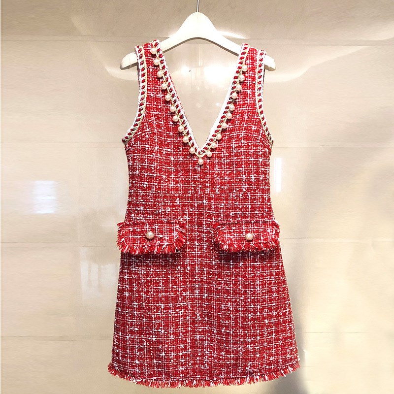 2018 Autumn Winter Winter Dress Pearls Beading Tassel Tweed Dress Women Sleeveless Wool Blends Dress