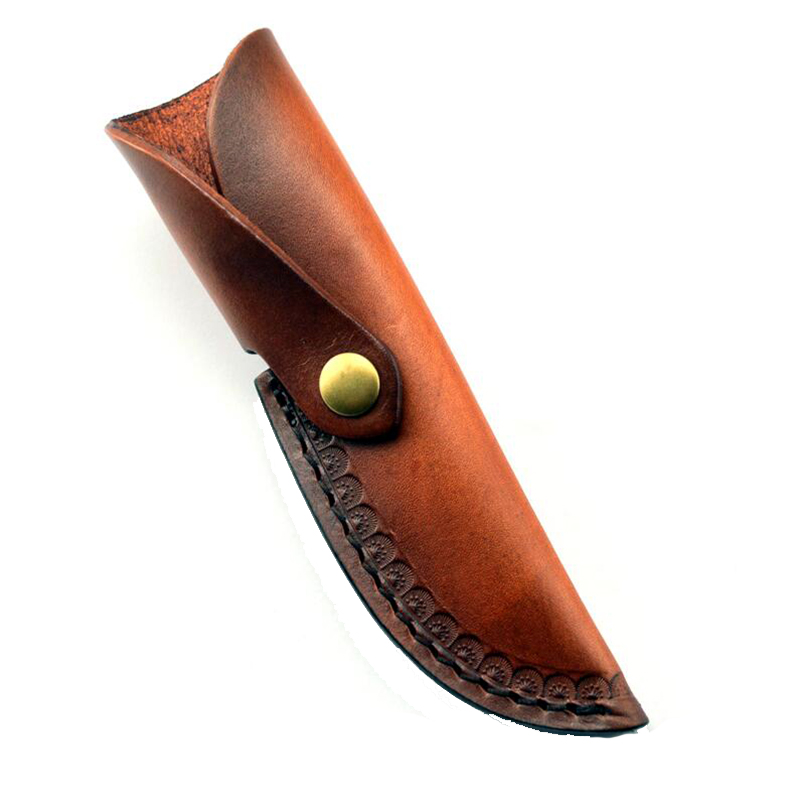 10cm Knife Vegetable tanned leather case DIY Straight knife leather case Cowhide sheath brown color