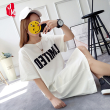 Women Cotton Dress 2018 Short Sleeve Loose Summer Dress Boyfriend Style Robe Loose Long Casual Oversized T-shirt Dresses XXL women spring summer loose oversized dress short sleeve letter t shirt dress casual o neck cotton dresses white black red xxl