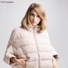 Высокое качество Новинка 2017 г. дешевые зимняя куртка воротник с рукавом «летучая мышь» куртка свободные куртки jaquetas femininas de Inverno