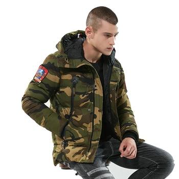 Hooded Camouflage Men Winter Jacket Coat Casual Slim Warm Military Bomber Parka Men