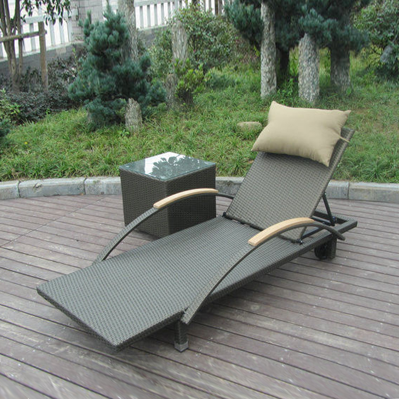 2 pcs Modern Rattan Sun Lounger , Folding Lounger With Side Tea Table transport by sea modern swimming pool waterproof rattan sun lounger transport by sea