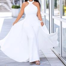 Plus Size Off Shoulder Sexy Jumpsuit White Women Elegant Halter Formal Party Swallowtail Slim Ladies Summer Wide Leg Jumpsuits(China)