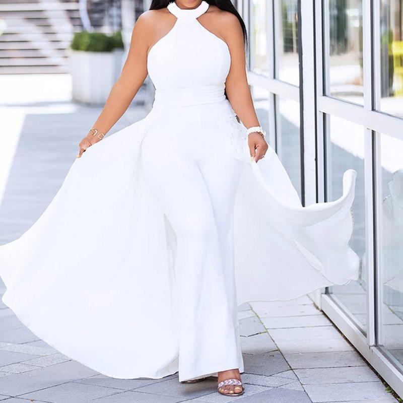 Plus Size Off Shoulder Sexy   Jumpsuit   White Women Elegant Halter Formal Party Swallowtail Slim Ladies Summer Wide Leg   Jumpsuits