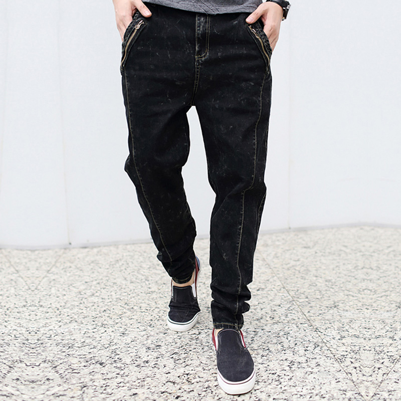 2017  fashion casual harem male jeans spring autumn long low crotch pencil elastic  jeans men slim harem plus size black