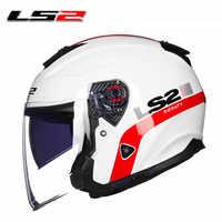LS2 OF521 cara abierta de fibra de vidrio moto rcycle casco Dua lente media cara casco moto 100% Original cascos párr moto hombre capacete moto