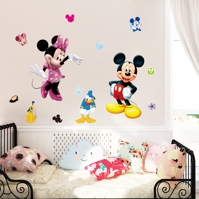 Lovely Mickey And Minnie Mouse Wall Stickers For Kids Bedroom Decor Animals Mural Art Diy Cartoon