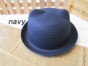 [DINGDNSHOW], модная соломенная шляпа, Летний стиль, для взрослых, украшение в виде ушей, прекрасная соломенная шляпа от солнца, одноцветная широкополая Панама для женщин - Цвет: navy adult