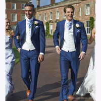 Custom Slim Fit Koningsblauw Mannen Pak 2017 Westerse Beste Mens suits Stalknecht Wedding Etentje Tuxedos (Jas + broek + Vest + Tie)