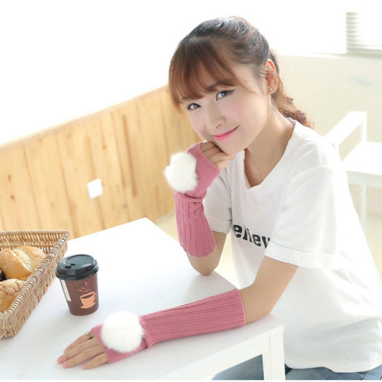 Solid Color Fluffy Ball Knitted Women's Gloves Middle Length Wrist Arm Warmer Winter Fingerless Mitten Dropship