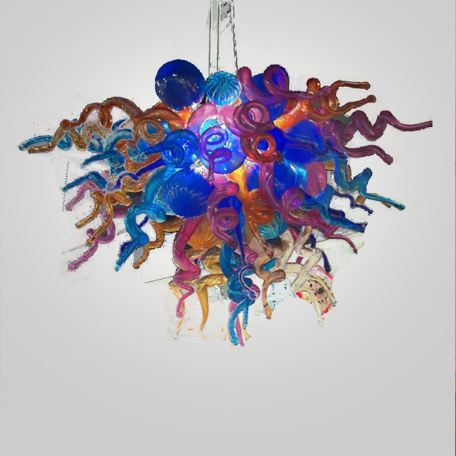 China Supplier Luxury Multi Purple Flush Mounted Led Handmade Blown Glass Chandelier Lighting