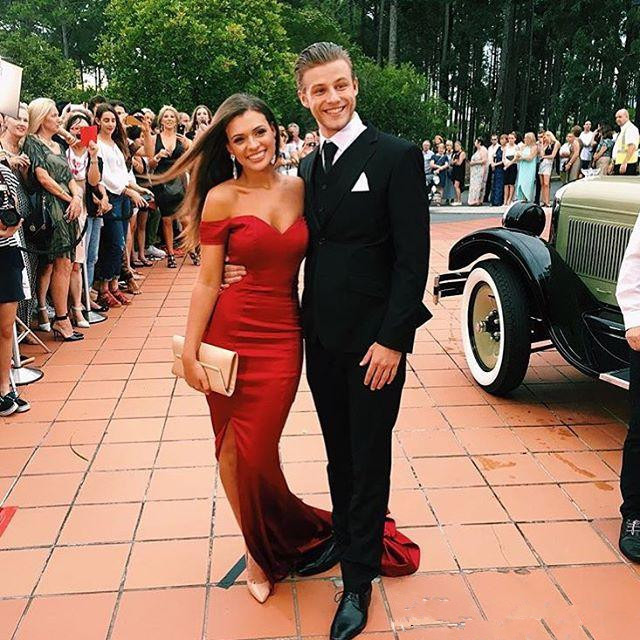 Red 2019   Prom     Dresses   Mermaid Off The Shoulder Slit Sexy Backless Plus Size Long   Prom   Gown Evening   Dresses   Robe De Soiree
