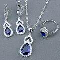 Clássico Azul Criado Sapphire Branco Topaz 925 Sterling Silver Jewelry Sets Para As Mulheres Pingente/Colar/Brincos/Anéis Caixa livre