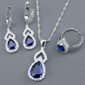 Classic Blue Created Sapphire White Topaz 925 Sterling Silver Jewelry Sets For Women Pendant/Necklace/Earrings/Rings Free Box