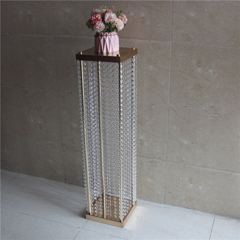 120CM Tall Fashion Wedding Decoration Road Cited Flower Stand with Acrylic Beads Strings for Party Event Table and Aisle Runner