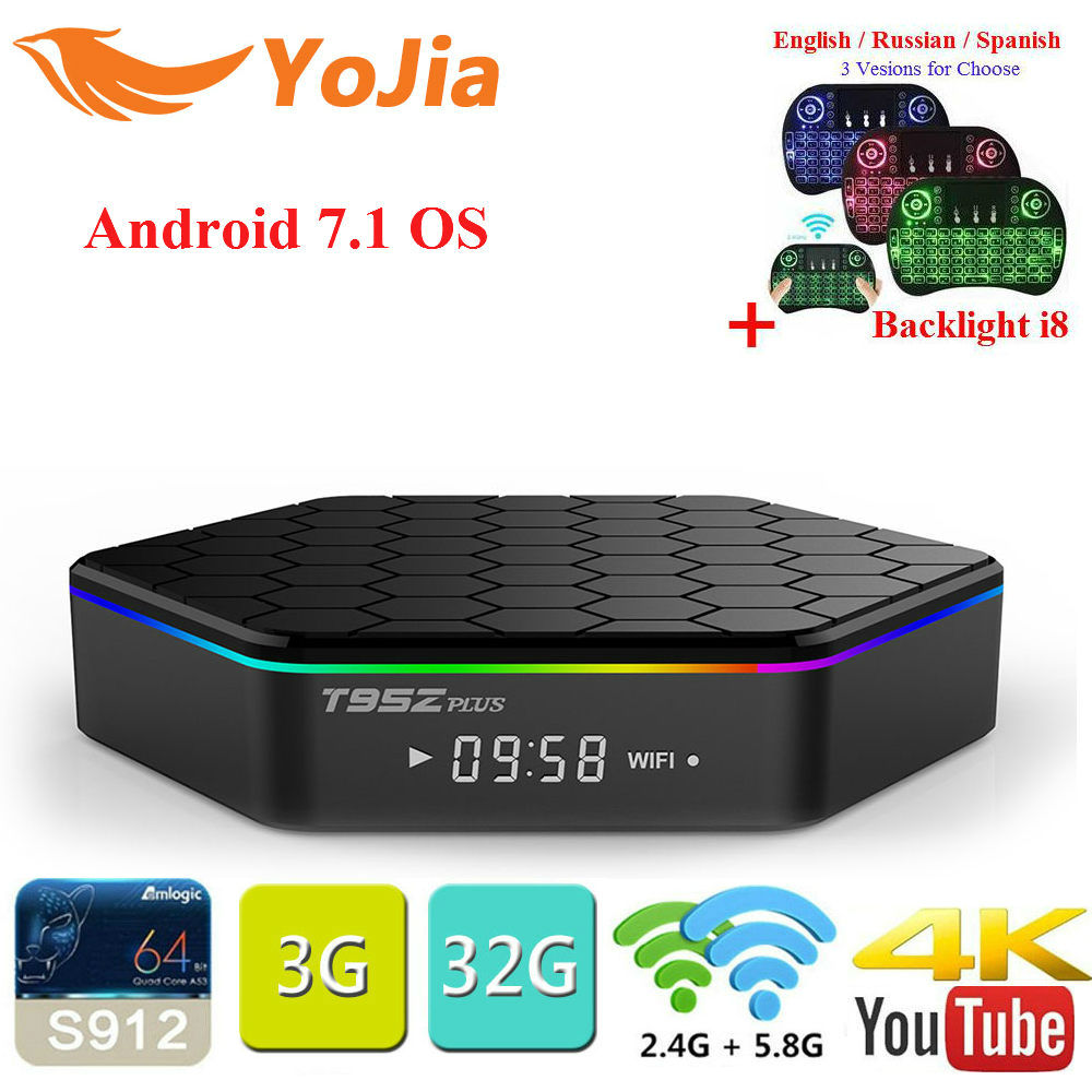 Yojia T95Z Plus Amlogic S912 Android 7.1 TV BOX 2GB/16GB 3GB/32GB Octa Core Dual WiFi Smart T95z Plus Set Top box