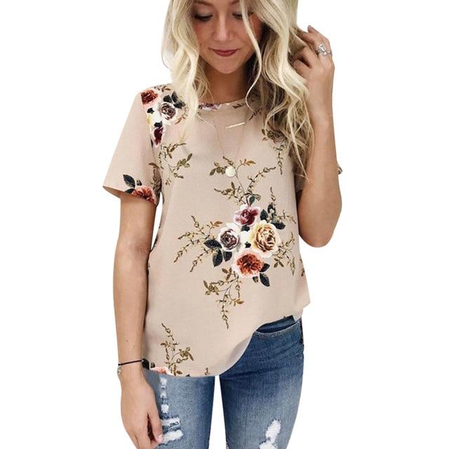 Elegant Summer Women Casual Tops Blouse Short Sleeve Rose Floral