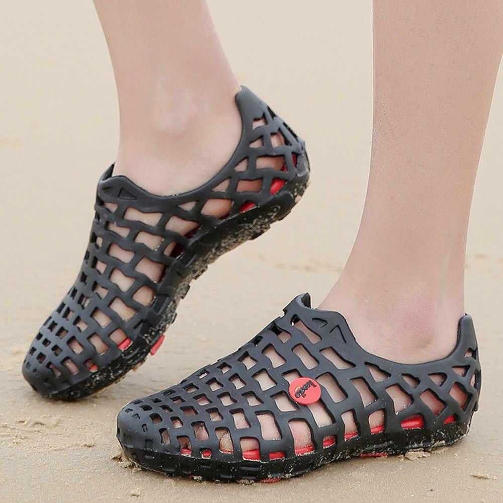 الرجال 2019 النساء أحذية الصنادل للجنسين الكلاسيكية حذاء كاجوال صندل شاطئ زوجين الوجه يتخبط الصيف الجوف خارج صندل شاطئ النساء