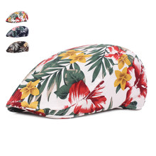 Spring Summer Beret Hats For Men Women Casual Cotton Berets Gorras Planas Boinas Floral Print Flat Cap Adjustable Male Berets(China)