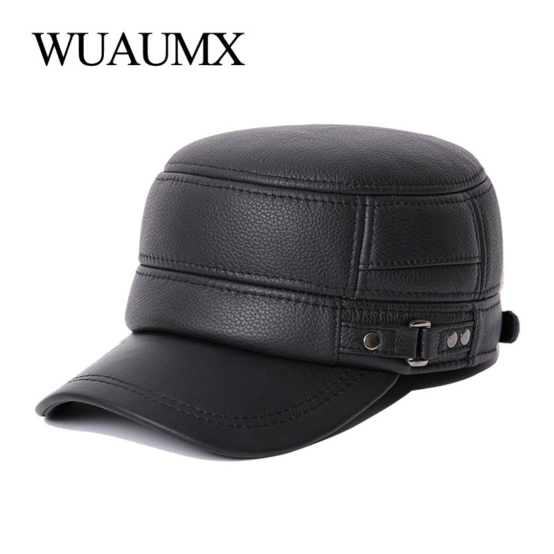 Wuaumx NEW Cowskin Genuine Leather Military Hats For Men Warm Earflap Hat Cowhide Cap Cow Leather Flat Top Baseball Cap For Male