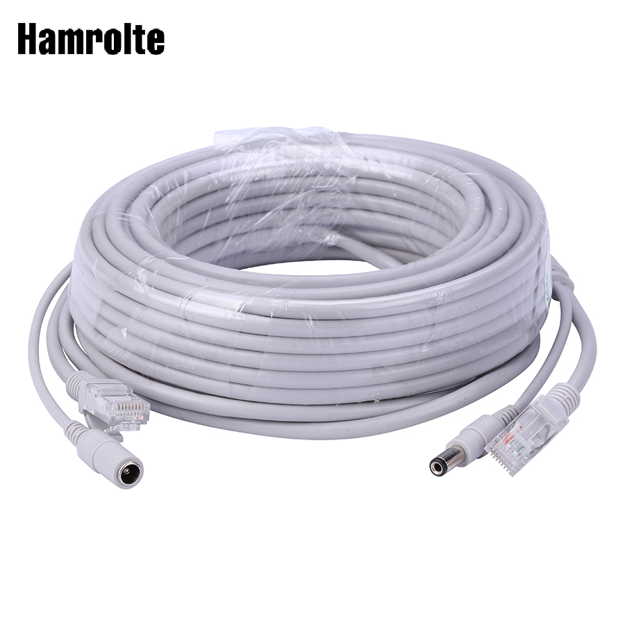 Hamrolte 5M/10M/20M/30M Optional 2.1mm/5.5mm Jack RJ45 + DC Power Extension Ethernet CCTV Cable For IP Cameras NVR System