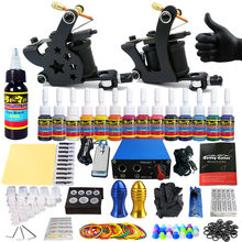 Solong Tattoo 2 Pro Machine Guns Tattoo Kit Power Supply Needle Grips 14 Ink Color Makeup Set  TK203-21