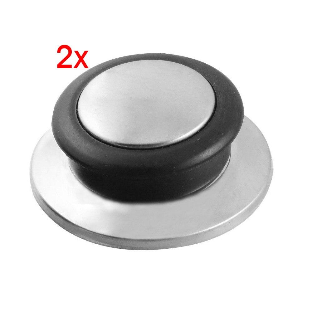 New 2 Pcs 59 x 20mm Diameter Plastic Handle Silver Tone Base Pot Lid Knob