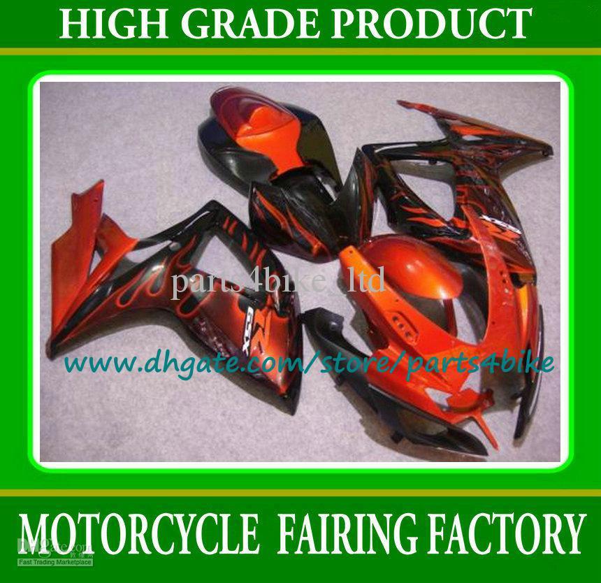 Injection fairing for SUZUKI 2006 2007 motorcycle fairings K6 K7 GSXR 600 GSXR 750 ABS fairing set 06 07 burnt flame in black new motorcycle ram air intake tube duct for suzuki gsxr600 gsxr750 2006 2007 k6 abs plastic black