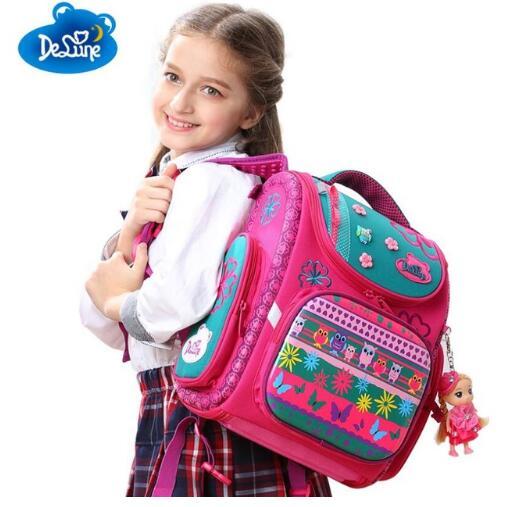 New Style Large Capacity Girls Cartoon School Backpack Orthopedic Ergonomic Design Children Cartoon Bea Orthopedic Schoolbag cartoon airplane style red