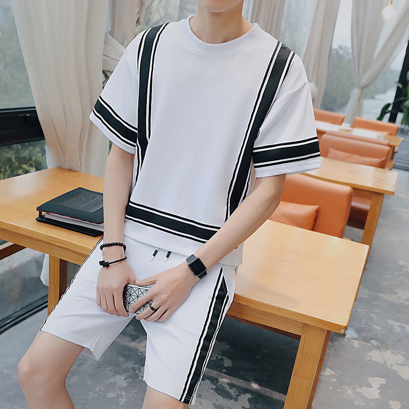 Two Piece Set Men Moda Hombre 2018 Tracksuit Men Set Summer Sweatsuit Mens Short Set Jog ...