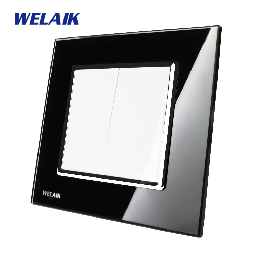 WELAIK Push Button Switch Manufacturer of Wall Light Switch Black  Crystal Glass Panel AC 110-250V 2Gang 1Way A1721B push button switch xb4 series zb4bg2 zb4 bg2
