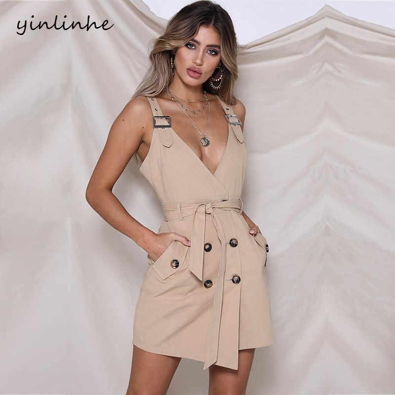 999149be7be20 yinlinhe Sexy Khaki Double-breasted Summer Dress With Belt Bow V neck strap  white Women Dress Sleeveless fashion Vestido 558