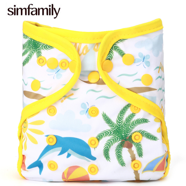 [simfamily]1PC Diaper Cover One Size Cloth Diaper Waterproof Breathable PUL Reusable Diaper Covers for Baby, Fit 3-15kg Baby