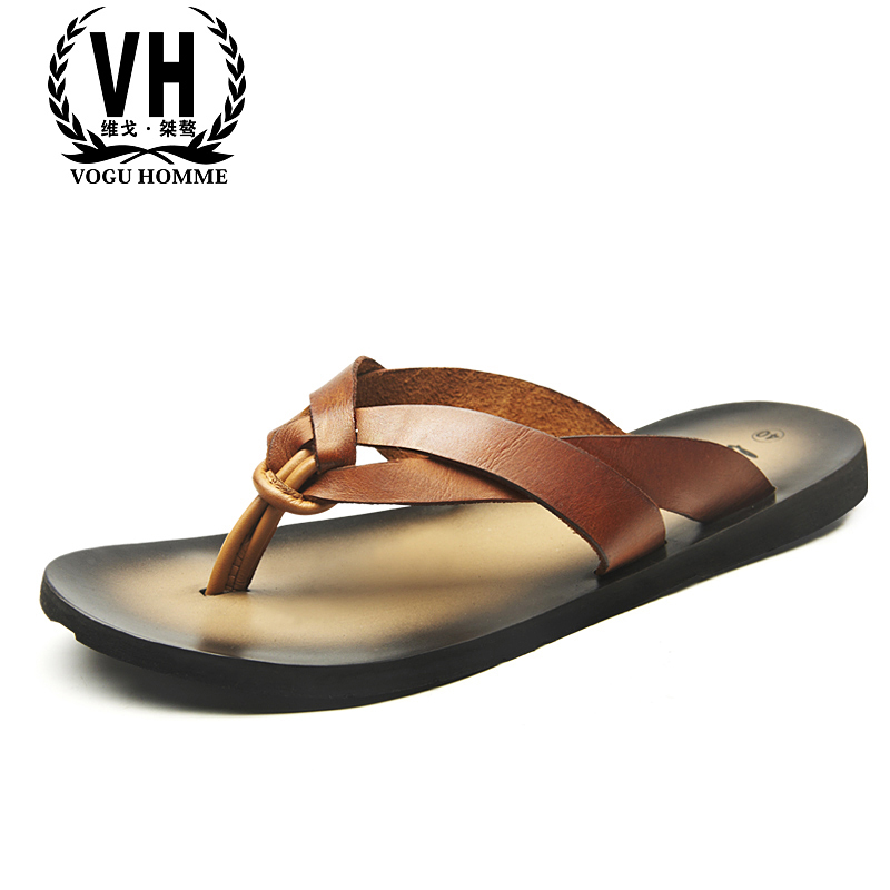 summer men's slippers all-match cowhide beach shoes summer sandals Sneakers Men Flip Flops casual Shoes outdoor Genuine Leather summer sandals women leather breathable mesh outdoor super light flats shoes all match casual shoes aa40140