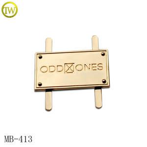 MB413 Customized gold design logo metal labels for bag  74624816497e3