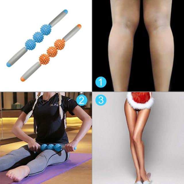 NEW Massager Stick Hedgehog Balls Muscle Roller Anti Cellulite Massager Trigger Point Stick Cellulite Slimming Massage Stick 1
