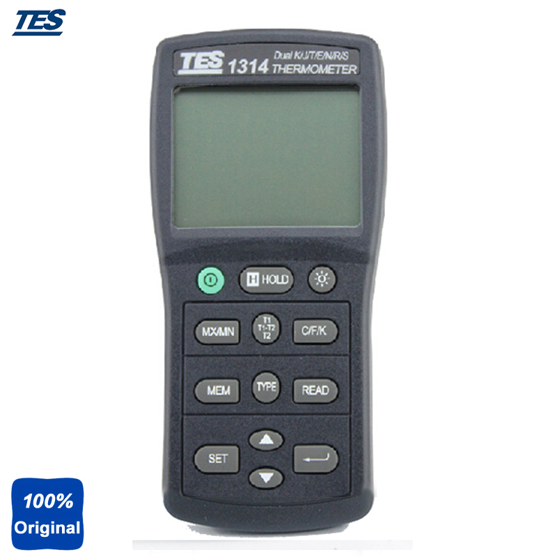 TES-1314 Dual Input Function T1/T2 Temperature Thermometer High Accurate Thermometer with Thermocouple K, J, E, T, R, S, N Type az 8851 3 in 1 portable k j t single thermocouple thermometer meter thermometer tester